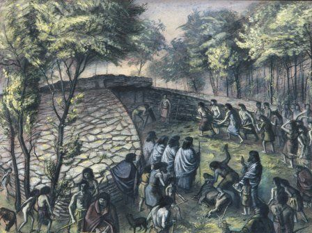 Imaginative reconstruction of a burial ceremony at Tinkinswood, by Alan Sorrell.