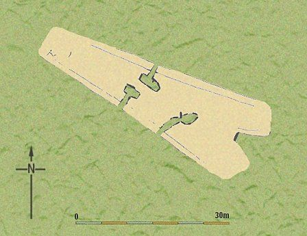 Ground plan of tomb at Gwernvale (Powys).