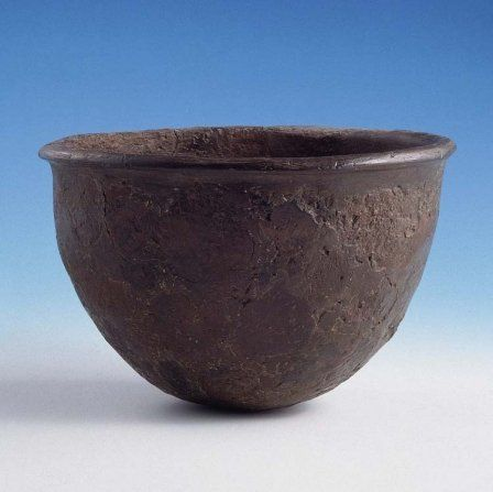 Bowl from Ty-Isaf (Powys). 24.6cm (9.8 inches) in diameter. Found in fragments, this simple bowl is more typical of the grave goods offered at this time.