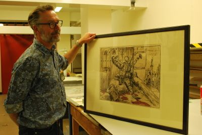 Richard showing us the finished framed lithograph print