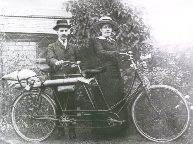 A Cardiff couple on a lady-front tandem. The man, a piano tuner, was blind.