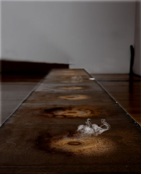 Installation of mortuary water and hotplates by Teresa Margolles, winner of Artes Mundi 5