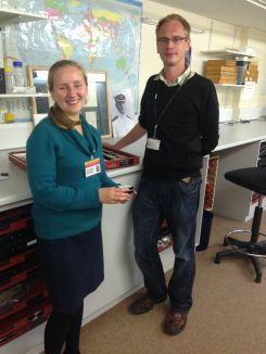 Seren Thomas working with Ben Rowson on the Mollusca collections