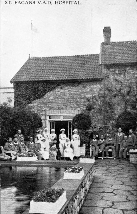 Soldiers and nurses in the Italian garden, St Fagans, during First World War