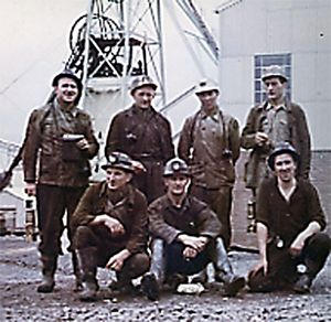 German mine workers at a south Wales coal pit
