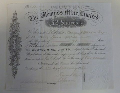 The Wemyss Mine Limited share certificate, 1885