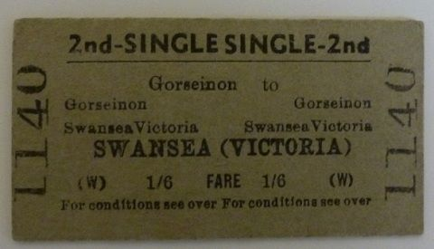 2nd class ticket said to have been used on the last train to run from Gorseinon to Swansea (Victoria), 13 June 1964