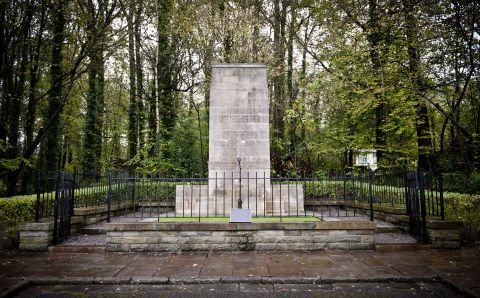The Newbridge War Memorial. Built in 1936 to commemorate the fallen servicemen of the First World War. Rededicated at the Museum in 1996. Portland stone structure with the inscription 1914 - 1918 1939 - 1945 AT THE GOING DOWN OF THE SUN AND IN THE MORNING