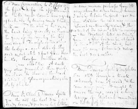 Two pages from the first part of the 1819 diary, describing the St Clears area in Carmarthenshire