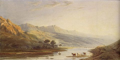 Cader Idris, a watercolour by John Varley in the Department of Art, Amgueddfa Cymru. The writer described Cadair Idris as 'rearing his dark majestic head above his gigantic brethren'.