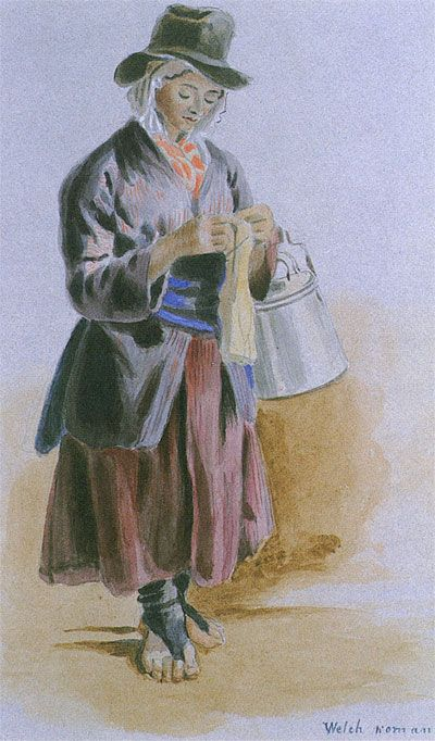 Watercolour sketch of Welsh woman knitting, showing footless stockings, mid-19th century
