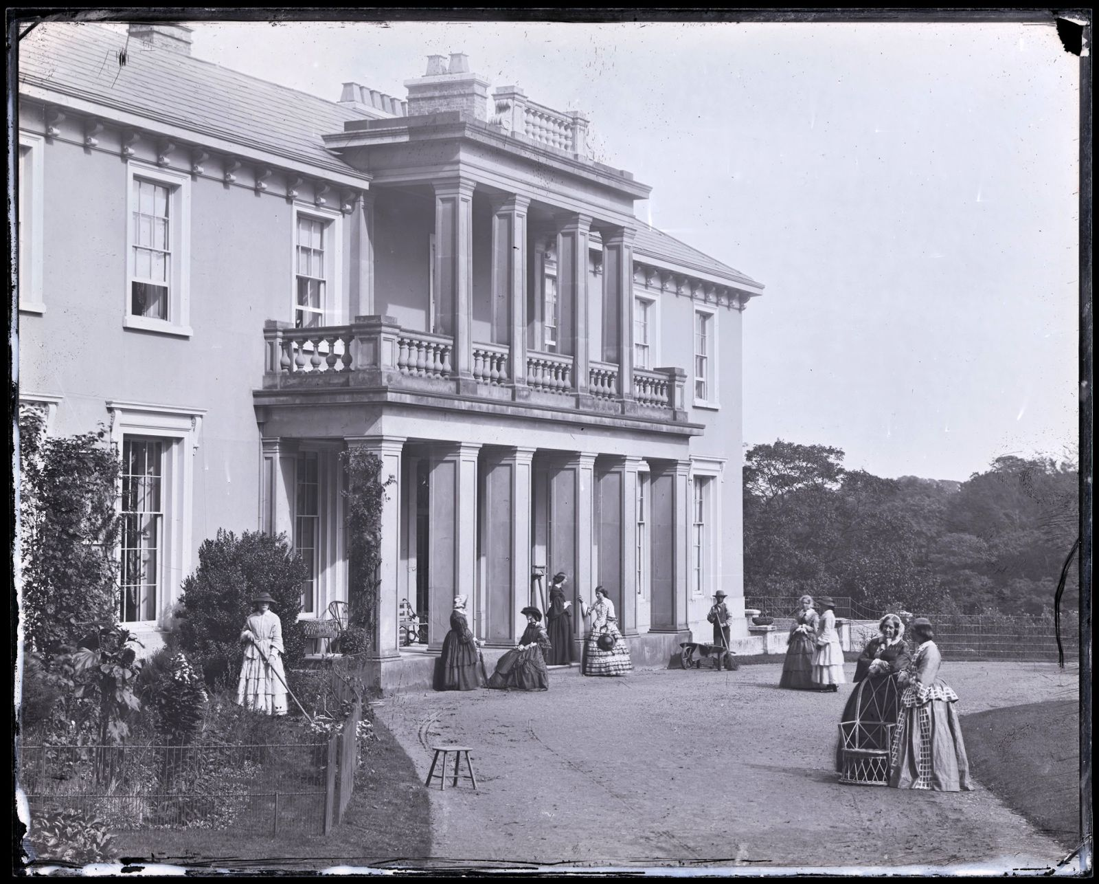 Collodion glass negative showing the south front of Penllergare House, 1858