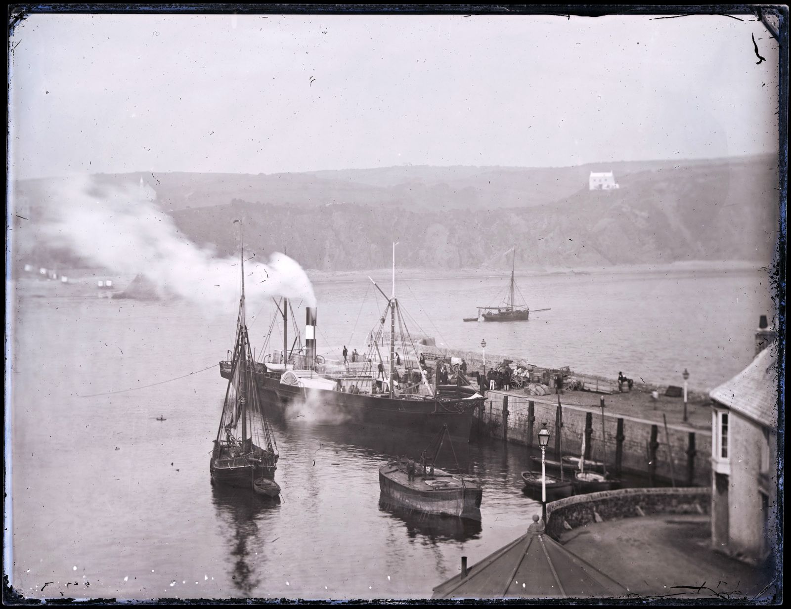 This Collodion glass negative is from the 'Motion' series showing the steamer JUNO at Tenby, c.1855