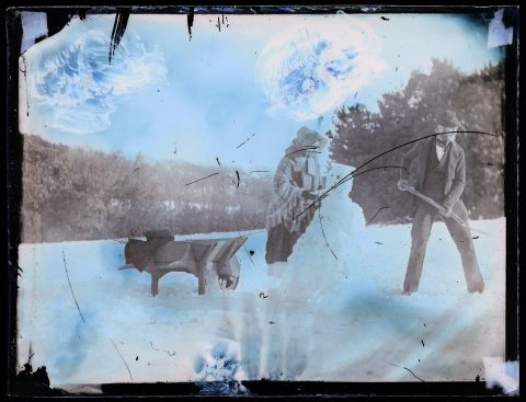 Is this the first ever photograph of a snowman taken in Wales? This photograph was taken about 1853/54 and is probably by Mary Dillwyn or Thereza Llewelyn.