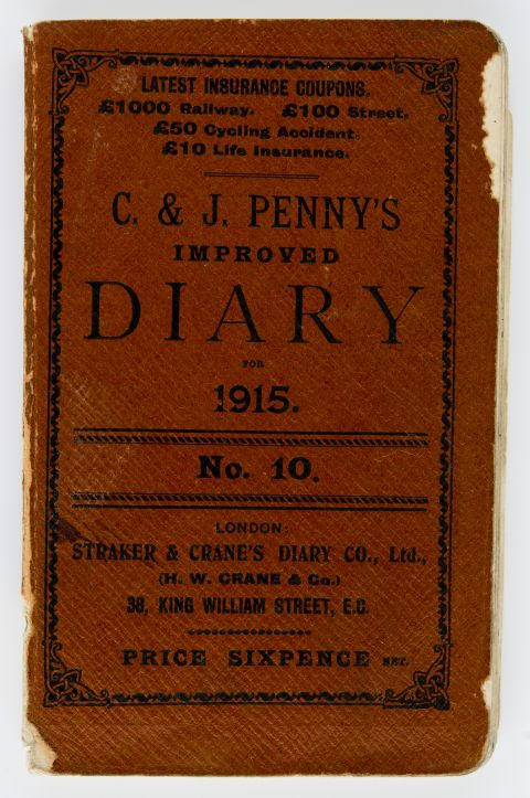 cover of a diary from 1915