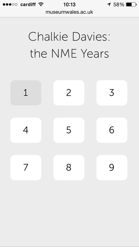 Keypad: Nine numbers matching particular groups of photographs