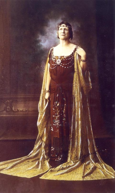 Leila Megàne wearing an opera gown designed for the role of Delilah