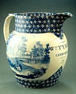 Pearlware jug, transfer printed with the 'Cows crossing a stream' pattern