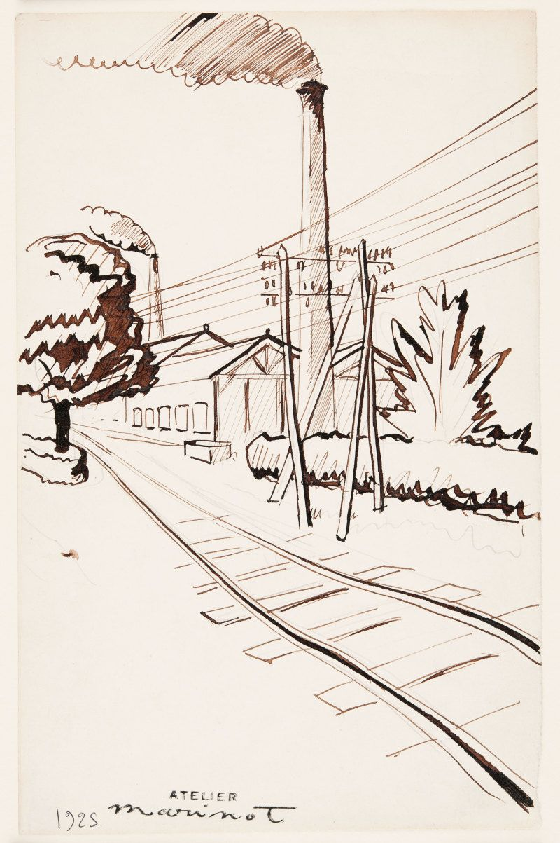 Near Bar-sur-Seine, 1925, pen ink and pencil on paper. (DA006752)