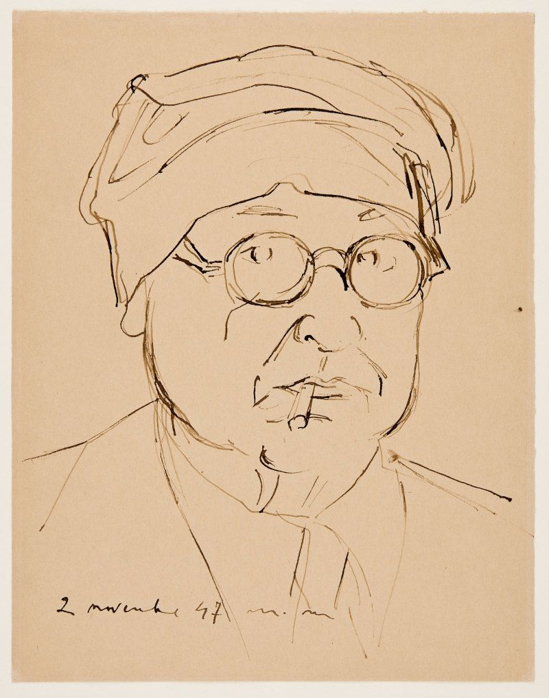 Self portrait, 1947, pen and ink on paper. (DA008196)