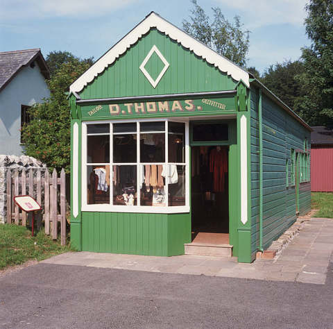 Exterior of D. Thomas Tailor shop at St Fagans National History Museum
