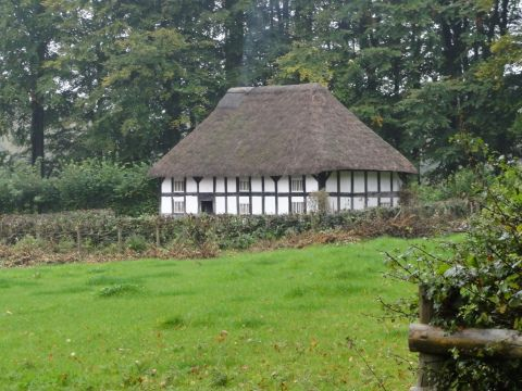 Exterior view of Abernodwydd Farmhouse at St Fagans National History Museum