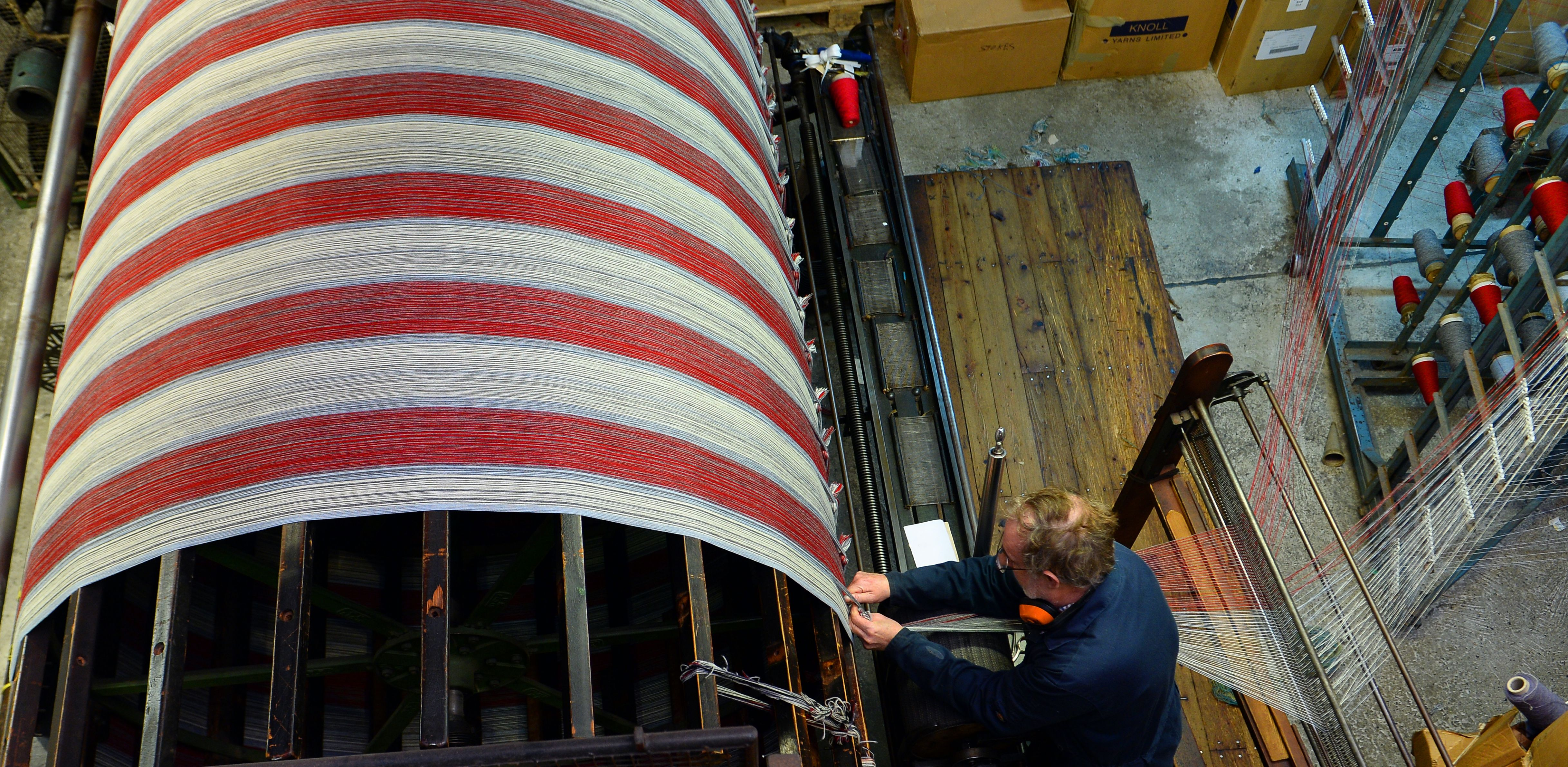 Textiles in production at Melin Teifi, the Museum's woollen mill.
