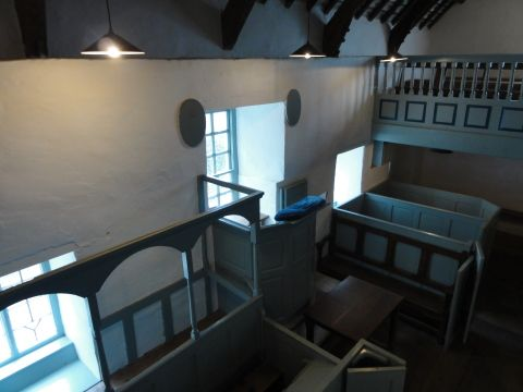 Interior view of Pen-rhiw Chapel at St Fagans National History Museum