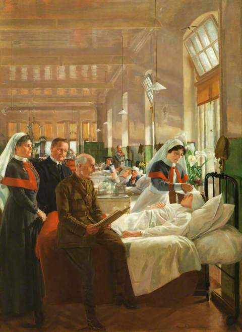 painting of hospital ward with soldiers