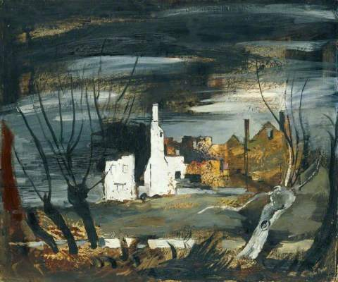 painting of a ruined house by John Piper