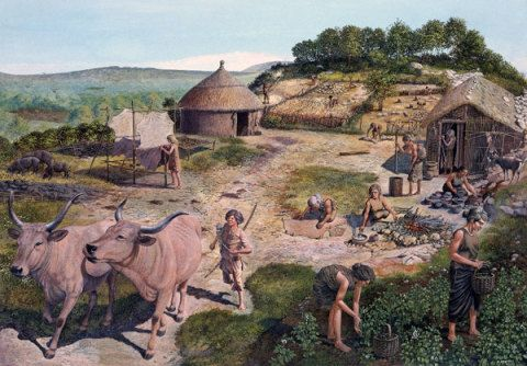 Farming settlement about 4,000 BC by Giovanni Caselli, 1979; Based on excavations at Clegyr Boia, St David's, Pembrokeshire, in 1902 and 1943.