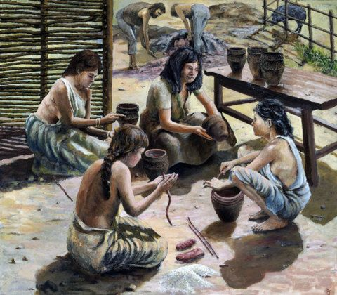Pottery-making in the Bronze Age (about 1, 750 BC); by Paul Jenkins, about 1980.