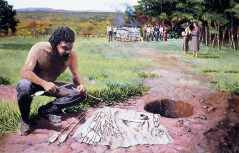 The preparation of a Bronze Age archer's grave, based on finds from the round barrow at Breach Down at Breach Farm, Llanblethian, The Vale of Glamorgan about 2,000-1,500 BC; by Paul Jenkins, about 1980.
