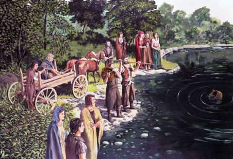 Making offerings at a sacred lake. The wheeled vehicle is based on continental finds and rock engravings. Llyn Fawr, Rhondda Cynon Taff, about 650 BC; by Paul Hughes, about 1980.