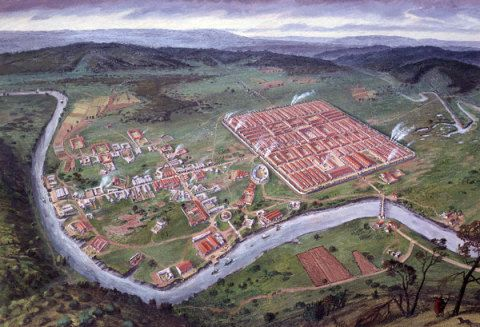 The Roman legionary fortress, Caerleon, Monmouthshire, in the 2nd century AD; by Alan Sorrell, 1939.