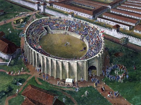 Roman amphitheatre, Caerleon, Monmouthshire, in the late 1st century AD; by Alan Sorrell, 1939. This view borrows from the reconstruction by J. A. Wright (1928), but shows more activity and detail in the vicinity of the amphitheatre.
