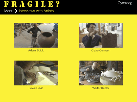 Figure 4, a screen shot from the Fragile? exhibition showing the four films available.