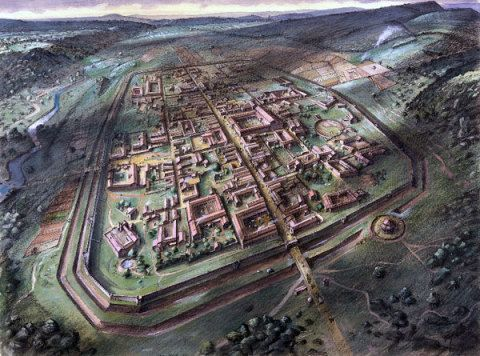 The Roman town of Venta Silurum (Caerwent), Monmouthshire, in the 4th century AD; by Alan Sorrell, 1937. Based on the plan of the town revealed by the large-scale excavations undertaken in the earlier 20th century.
