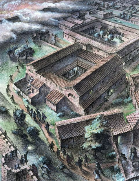 Caerwent Roman town, Monmouthshire. Imaginative reconstruction of a raid on the south-west corner of the town; by Alan Sorrell, 1938.