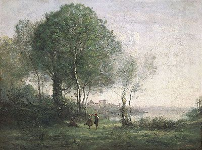 Jean-Baptiste Camille Corot (1796-1875), Castel Gandolfo, dancing Tyrolean shepherds by Lake Albano, oil on canvas, 1855-60