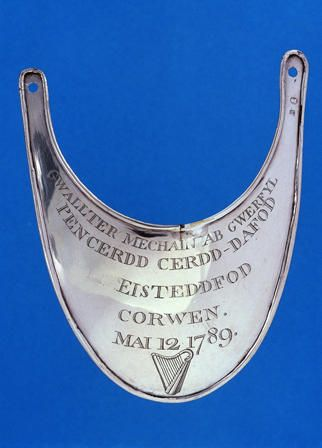 Silver gorget awarded at the Corwen eisteddfod, 1789