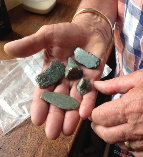 A person holding a small collection of metal fragments dating from the Bronze Age