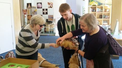 Photograph of Audio Description Tour Training Session, showing a museum staff member and participants touching a stuffed turtle