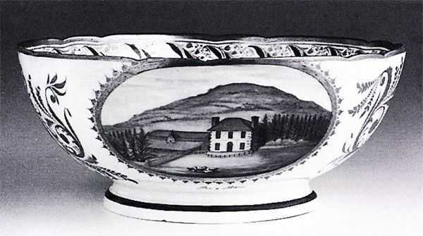 Nantgarw porcelain bowl painted with Pen-y-Rhos, 1821-3