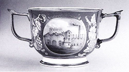 Bone china cup painted with the Pentwyn ironworks, c. 183