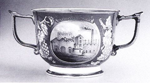 Bone china cup painted with the Pentwyn ironworks, c. 1835