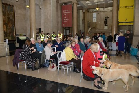 Phootgraph showing a gathered crowd for the RNIB Roal Dahl Talking Books launch event
