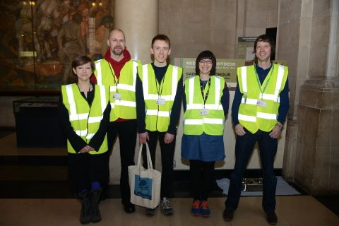 Photograph of museum staff who helped guide visitors with visual impairments