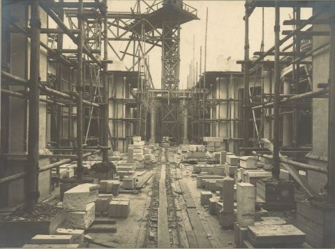 Photo of the Main Hall under construction, August 1915