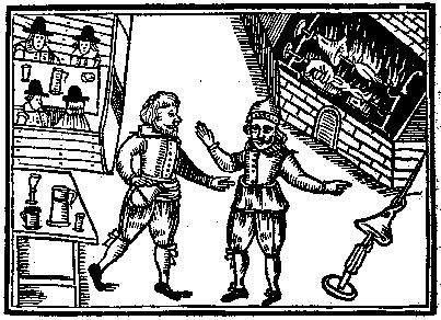 A seventeenth-century woodcut showing two men in a tavern, wearing the breeches said to resemble the conjoined shields of the Commonwealth coins